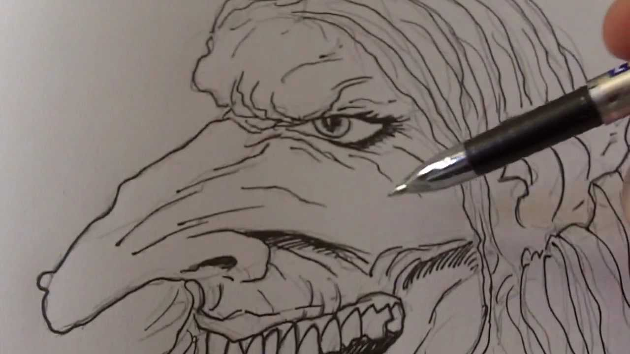 Zombie Face Line Drawing : Witch drawing at getdrawings.com free for personal use