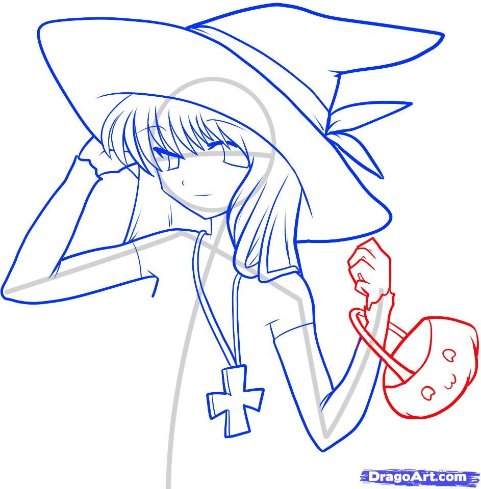 943x960 Anime Witch Drawing How To Draw An Anime Witch, Anime Witch Girl