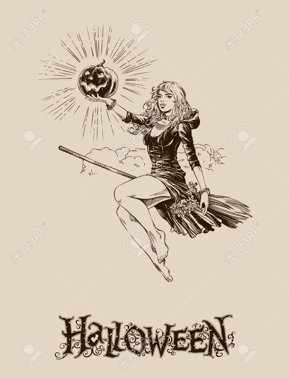 994x1300 Blond Halloween Witch With Pumpkin Flying On Broom Vector
