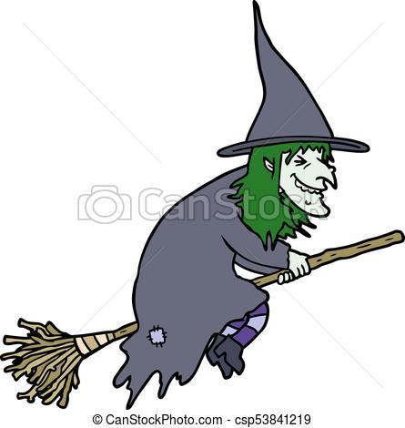 445x470 Cartoon Witch On Broom Vector Clip Art