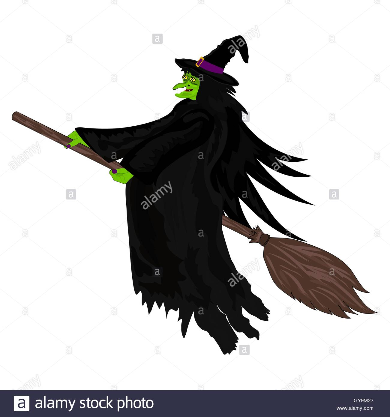 1300x1390 Scary Witch Flying On A Broom Stock Vector Art Amp Illustration
