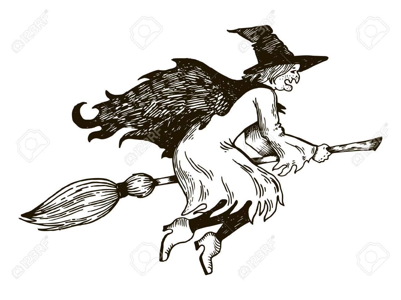 1300x975 Witch Flying On Broomstick Engraving Vector Illustration. Royalty