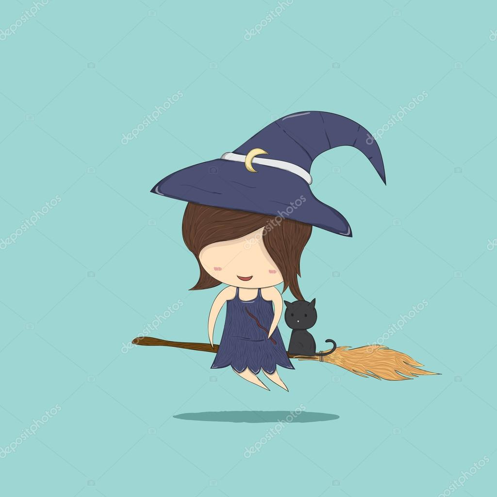 1024x1024 Witch Cute And Black Cat Ride On The Broom, Halloween, Drawing B