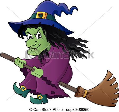 450x426 Witch On Broom Theme Clipart Vector