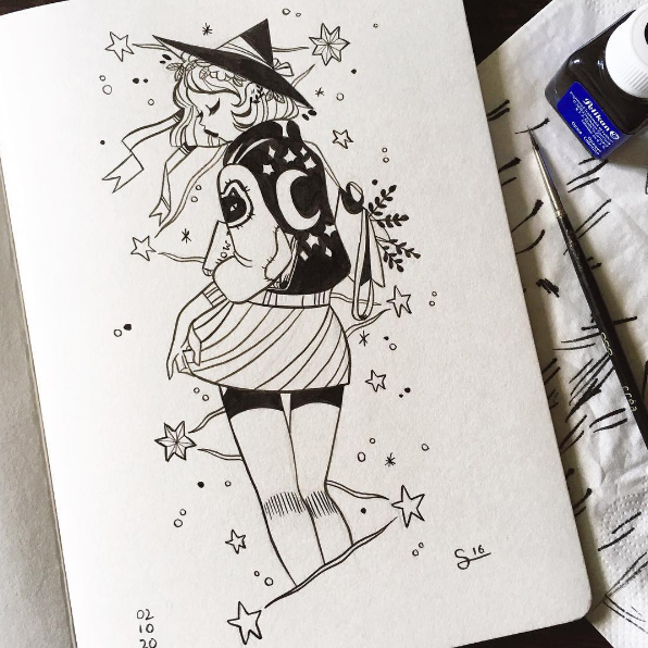 596x596 Cute Witch Ink Drawing El Arte Witches, Draw