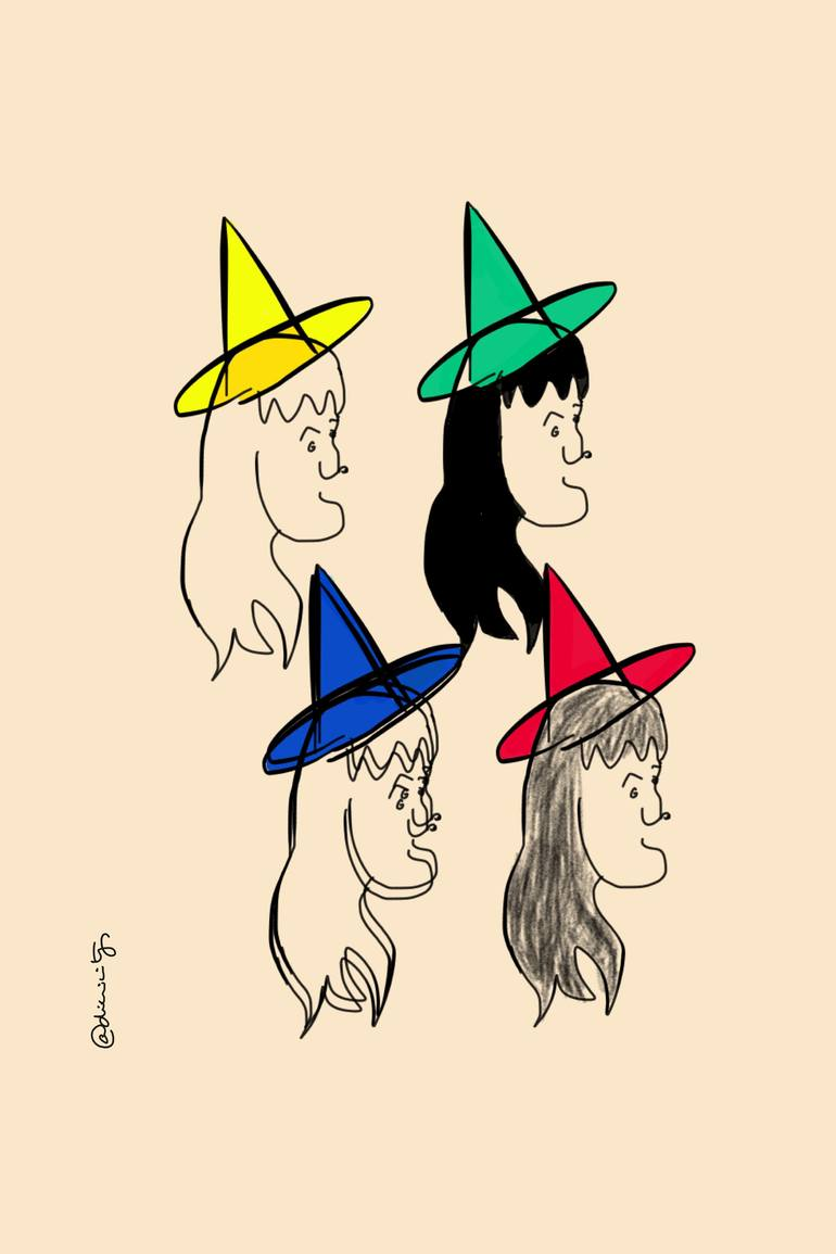 770x1155 Saatchi Art 4 Witches Drawing By Clara