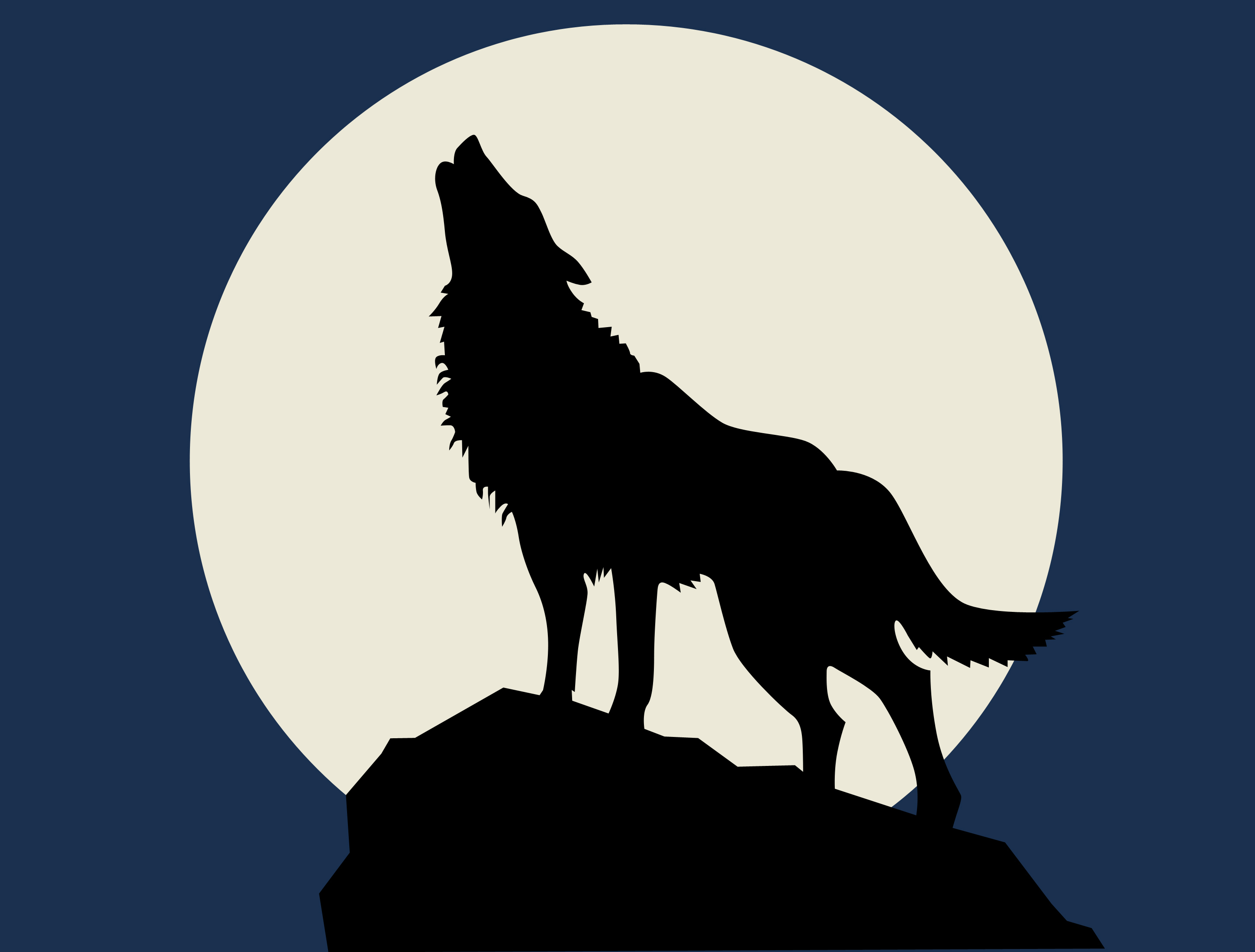 2900x2200 Drawing Of A Wolf Howling Moon Draw A Wolf Howling