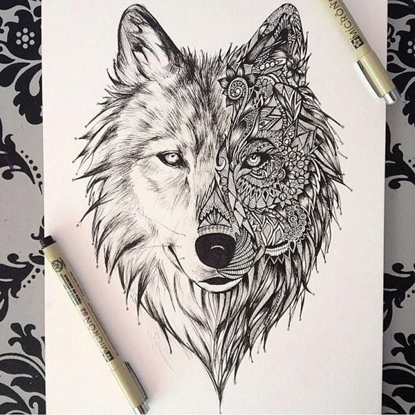 600x600 Wolf Drawing Liked On Polyvore Featuring Home, Home Decor