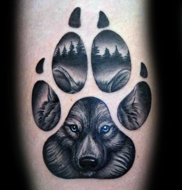 600x624 50 Wolf Paw Tattoo Designs For Men