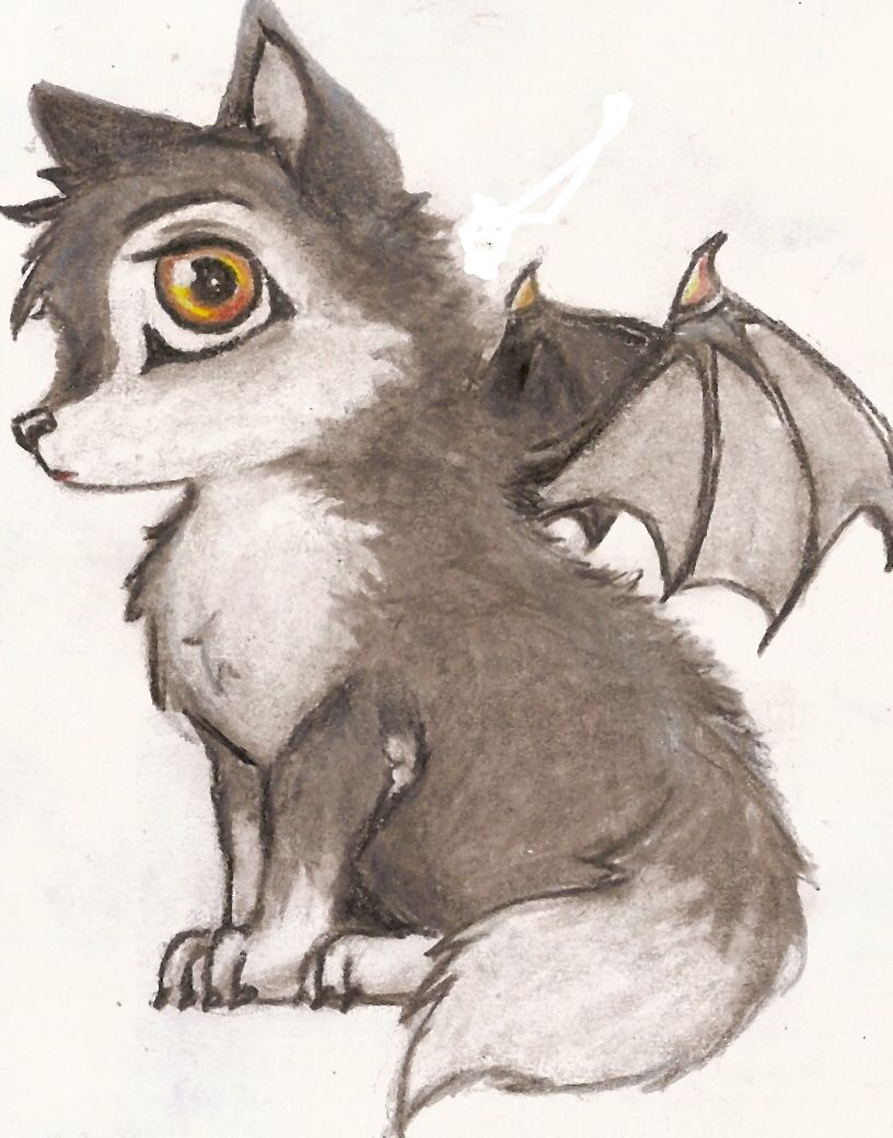816x1040 Cute Anime Fantasy Wolves With Wings Vampire Wolf Cub By Wally92