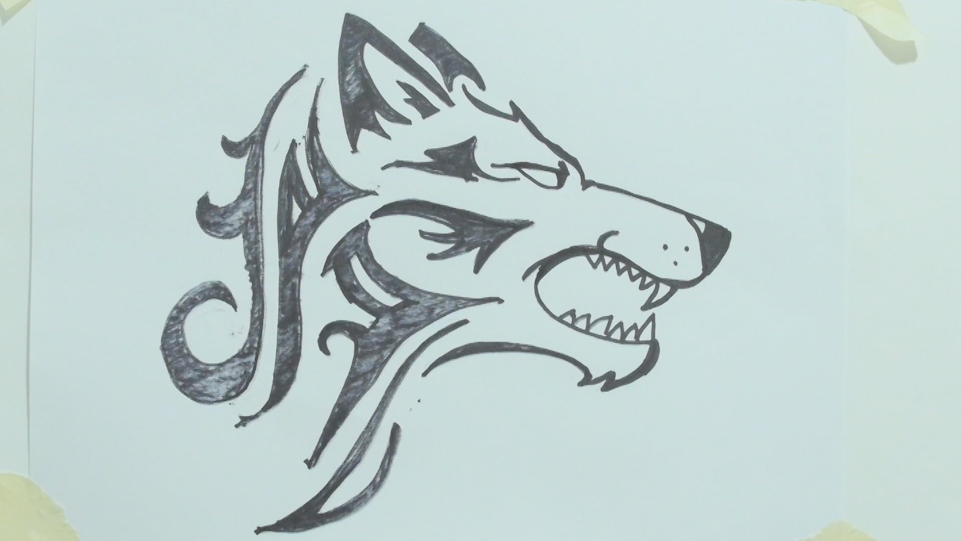 1920x1080 How to draw a tribal wolf head tattoo رسم ذئب