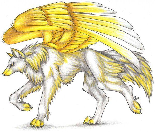 600x509 Wolves With Wings Drawings