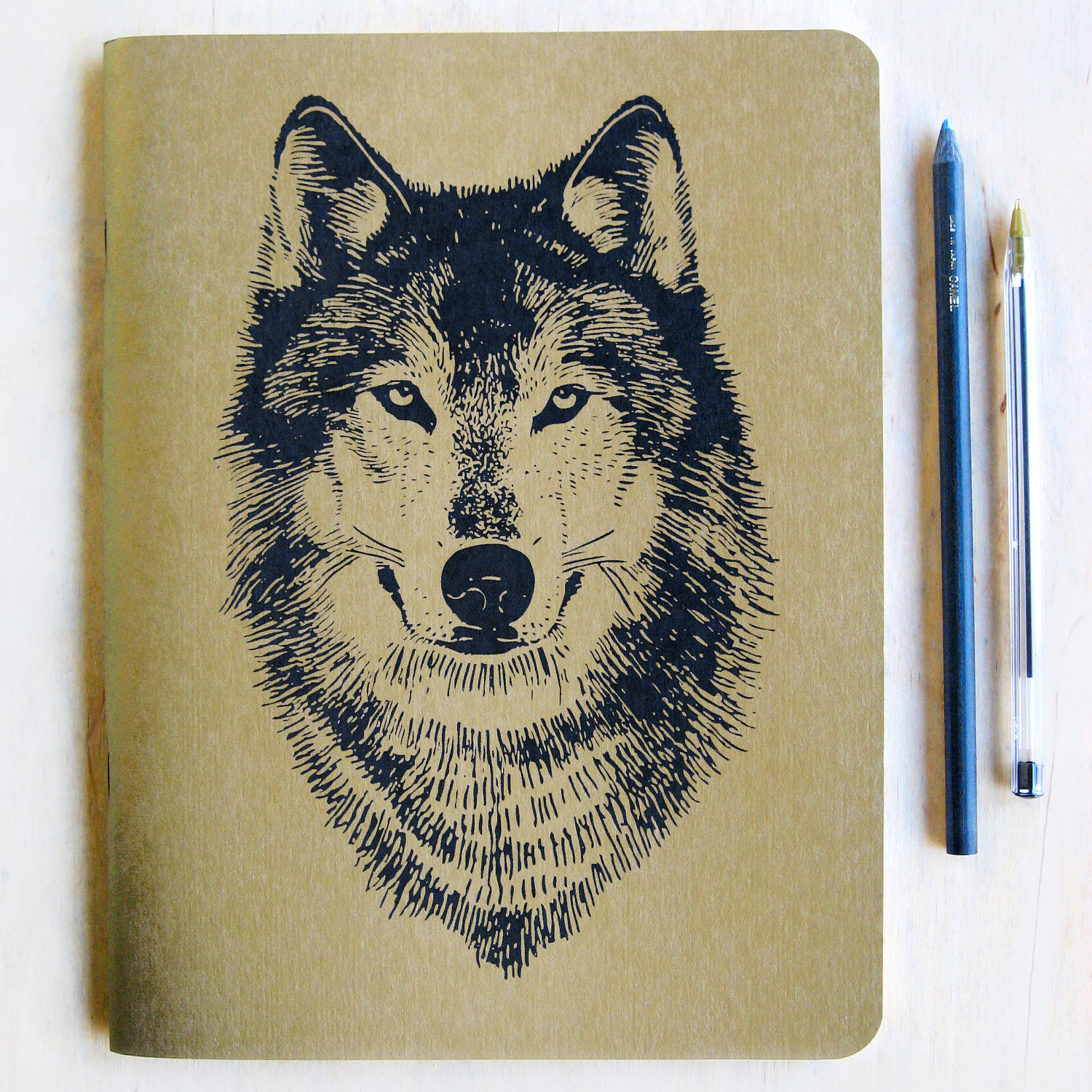 1500x1500 Large Gold Wolf Notebook Journal, Metallic Book Cover, Lined