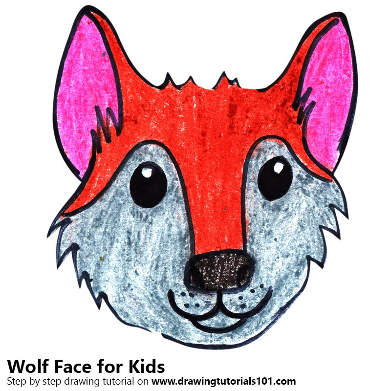 800x800 Learn How To Draw A Wolf Face For Kids (Animal Faces For Kids