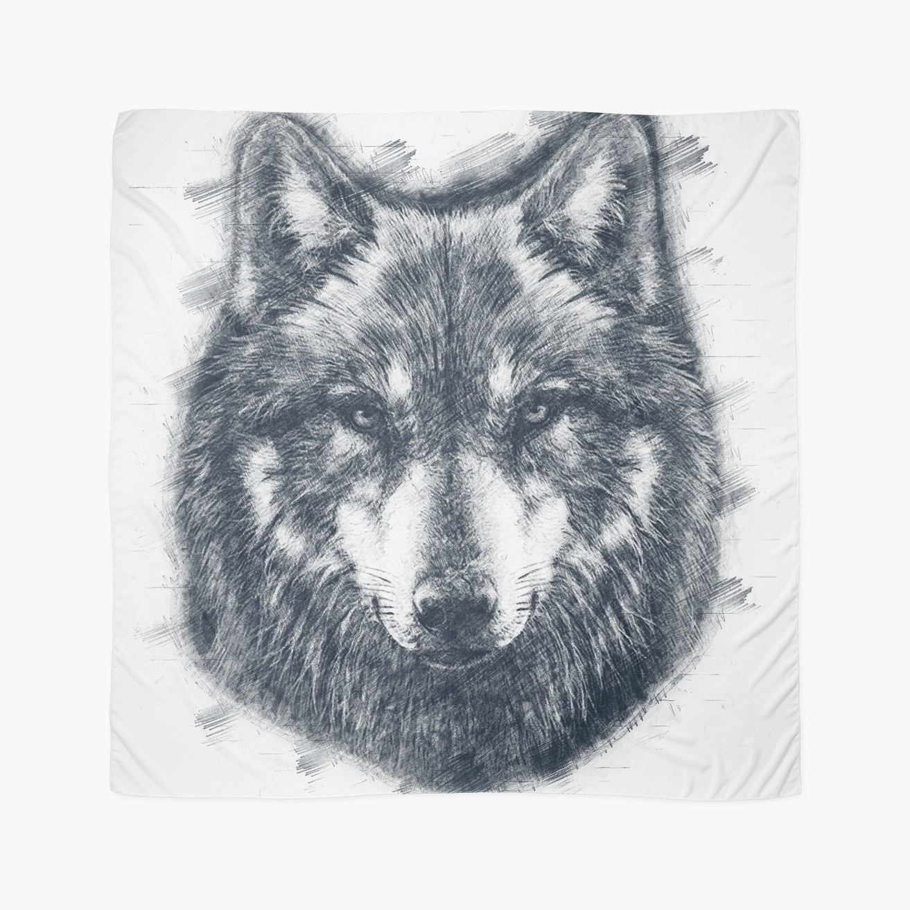 1313x1313 Wolf Face Drawing Scarves By Heartbeats Redbubble