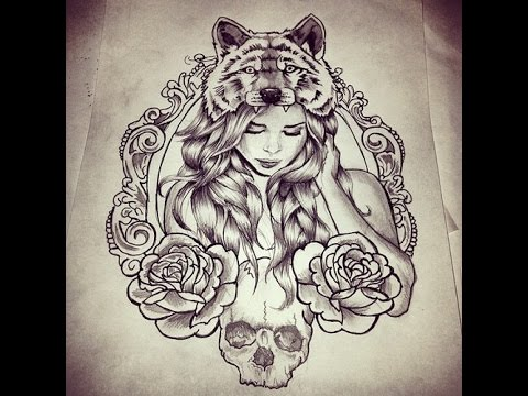 Lineart Wolf Tattoo : Wolf girl drawing at getdrawings.com free for personal use