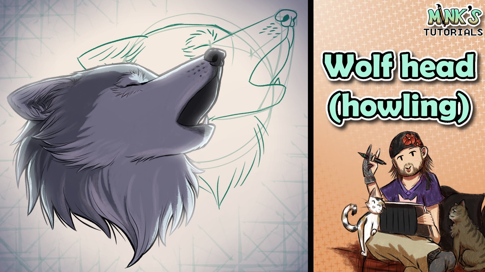 1920x1080 How To Draw A Wolf Head (Howling)