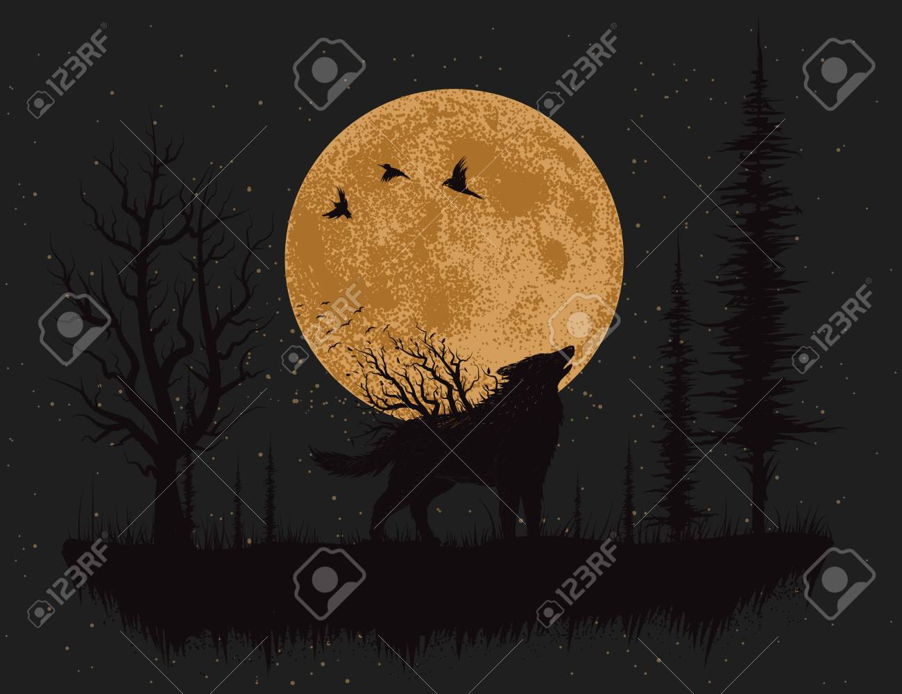 1300x1000 Wolf Howling At The Moon In The Forest.hand Drawn Vector