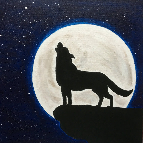 570x570 Wolf Howling At The Moon Painting Wolf Silhouette Moon Stars