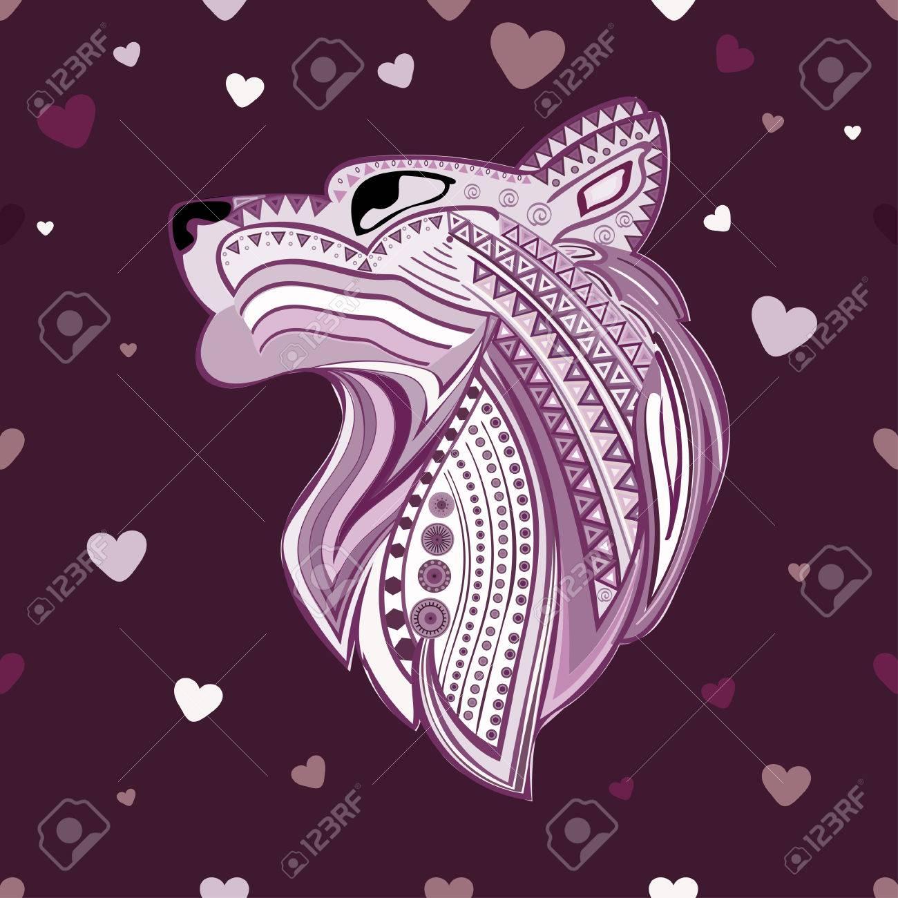 1300x1300 Vintage Wolf Head Ethnic Pattern Hand Draw. Predator. Wolf Symbol