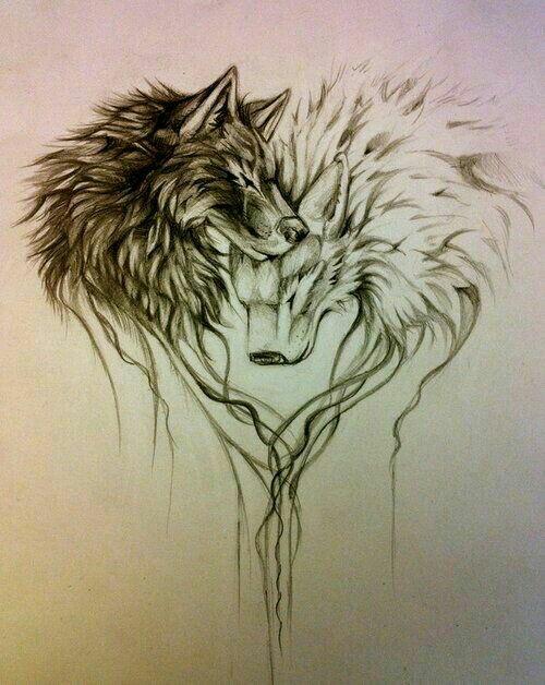 500x628 Wolf Love Tattoo Couple Tattoos Wolf, Tattoo