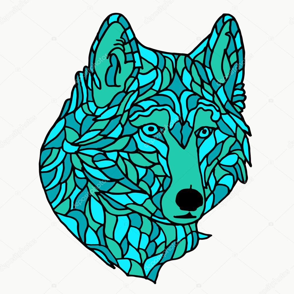 1024x1024 Wolf on white background. Wolf tattoo. Wolf icon. Wolf logo. Wolf