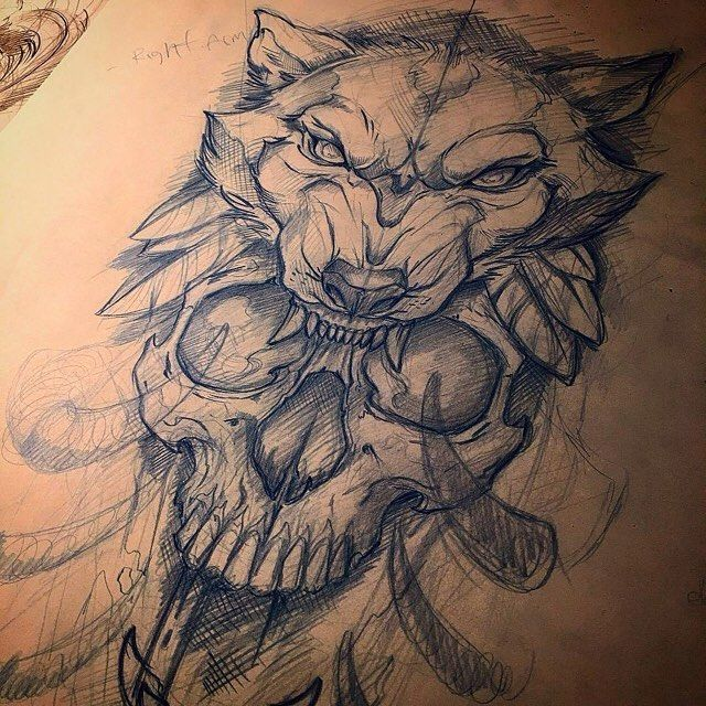 640x640 Awesome Skull And Wolf Sketch By @mike Tattoo Who Is Always