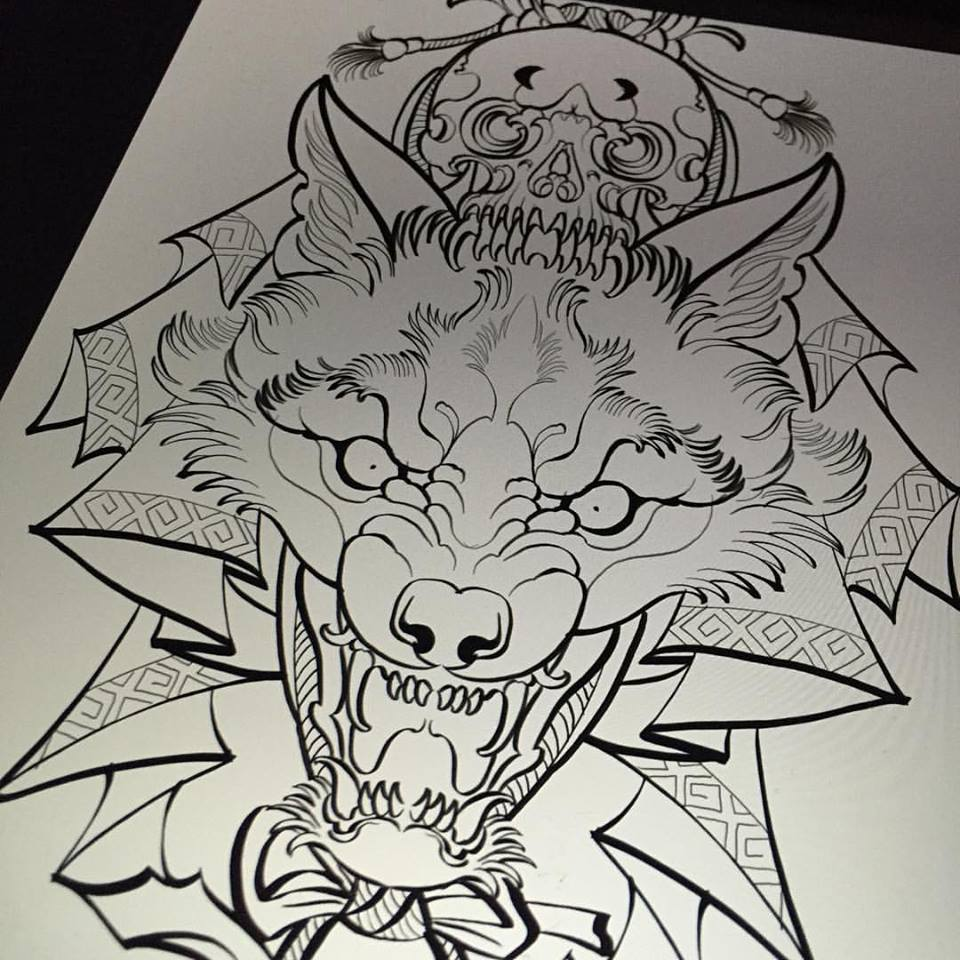 960x960 Unique Black Outline Wolf Head With Skull Tattoo Design