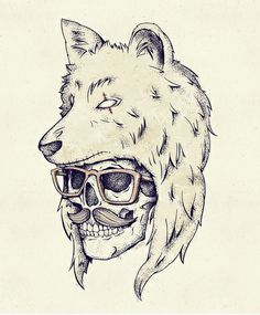 236x285 Wolf Skull Illustration