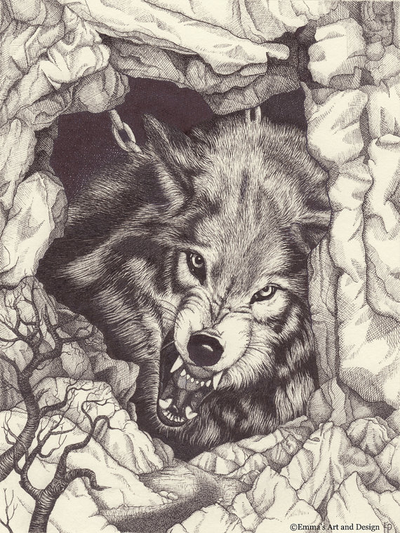 570x760 Fenrir Chained Growling Wolf Drawing Mounted Print