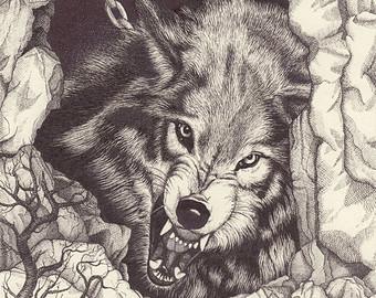 340x270 Growling wolf Etsy