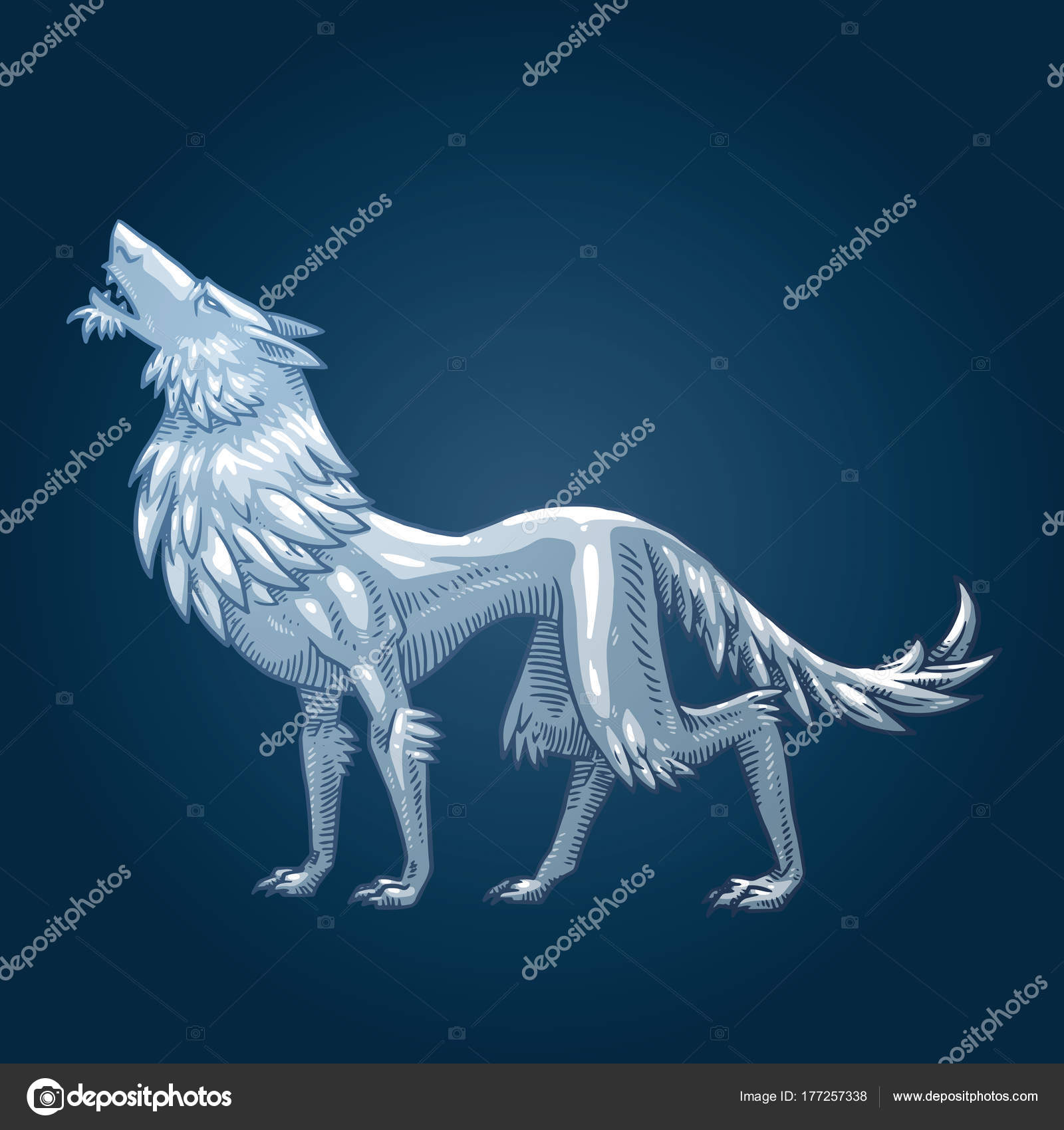 1600x1700 Heraldic Wolf Turned Left And Howling, Color Image Stock Vector