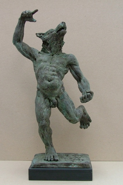 425x640 Sculpture, Statue, Male Figure, Nude, Wolf, Standing, Motion
