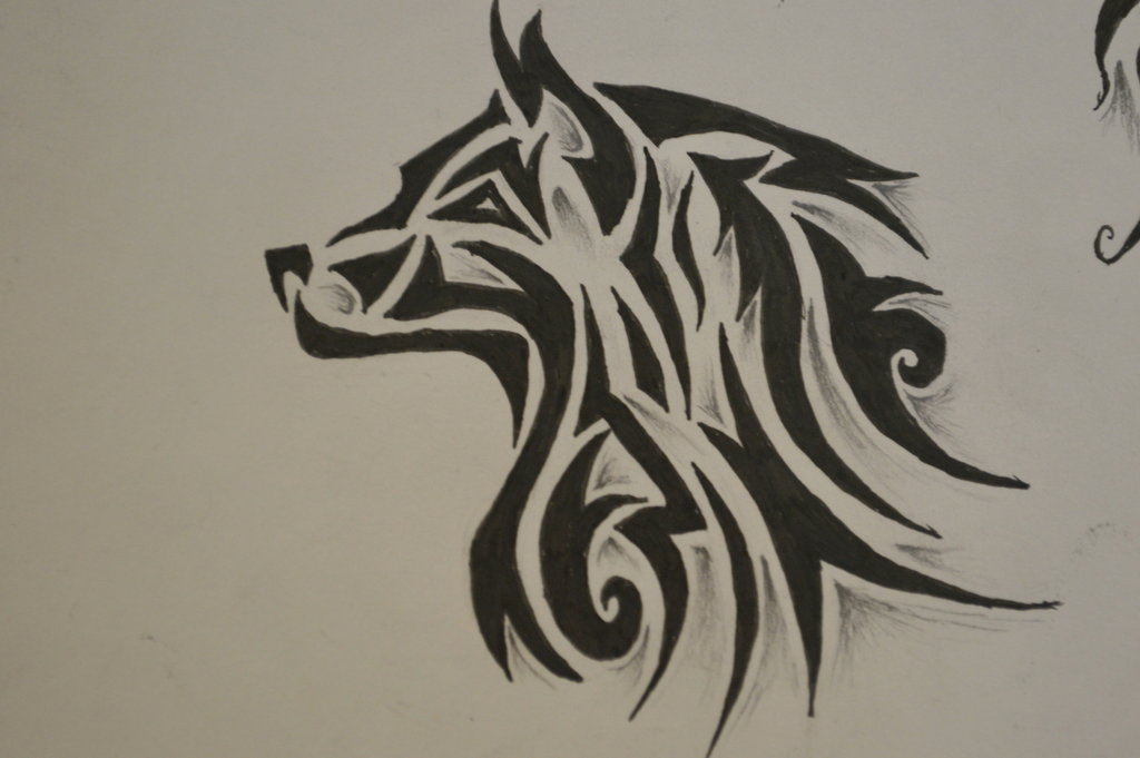 e0d1f2b48 Wolf Tribal Drawing at GetDrawings.com | Free for personal use Wolf ...