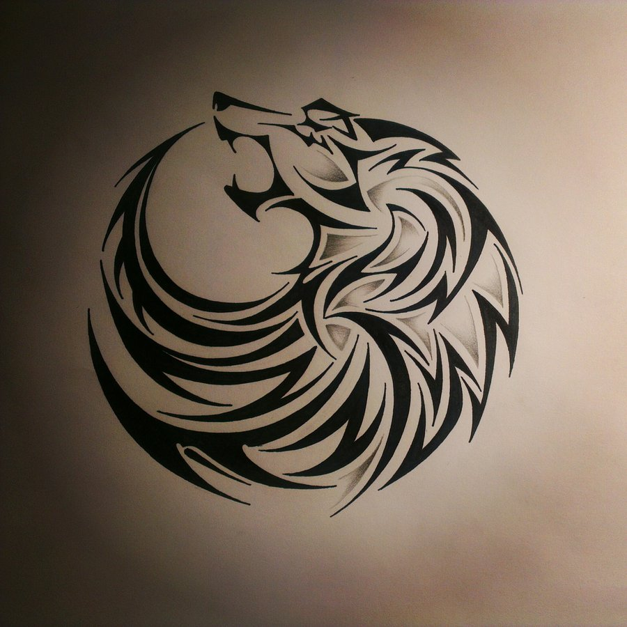 7542d9316662b Wolf Tribal Drawing at GetDrawings.com | Free for personal use Wolf ...