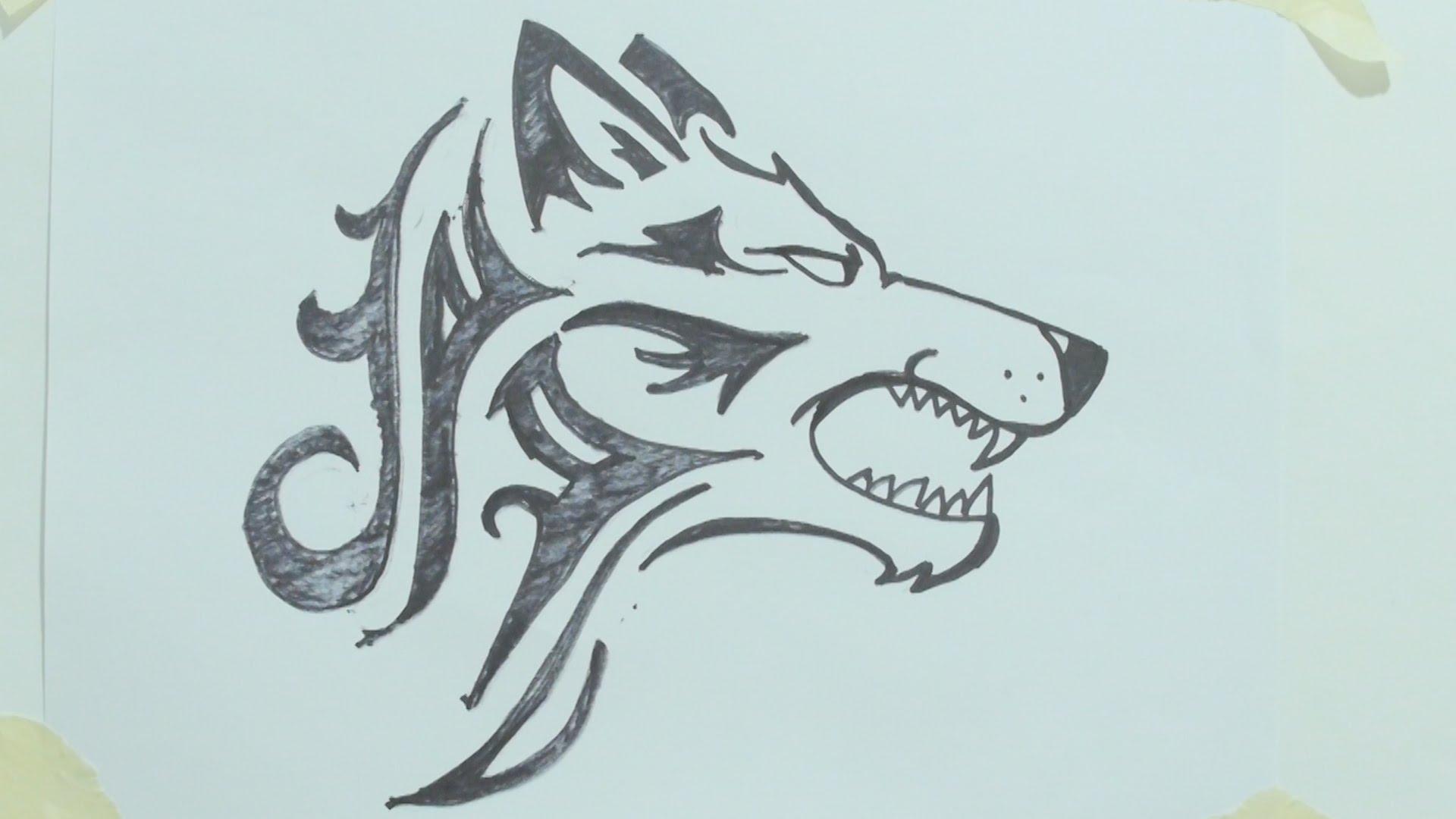 1920x1080 How To Draw A Tribal Wolf Head Tattoo