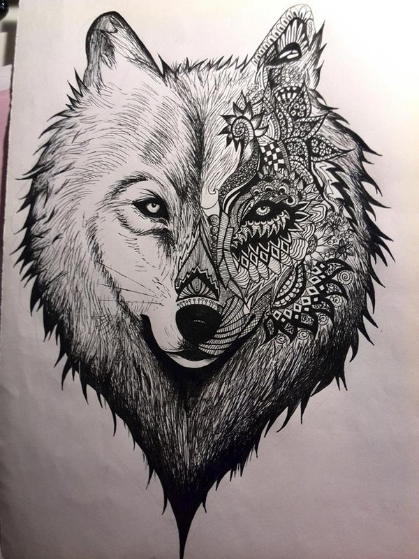 600x800 Wolf Drawing By Valerina28