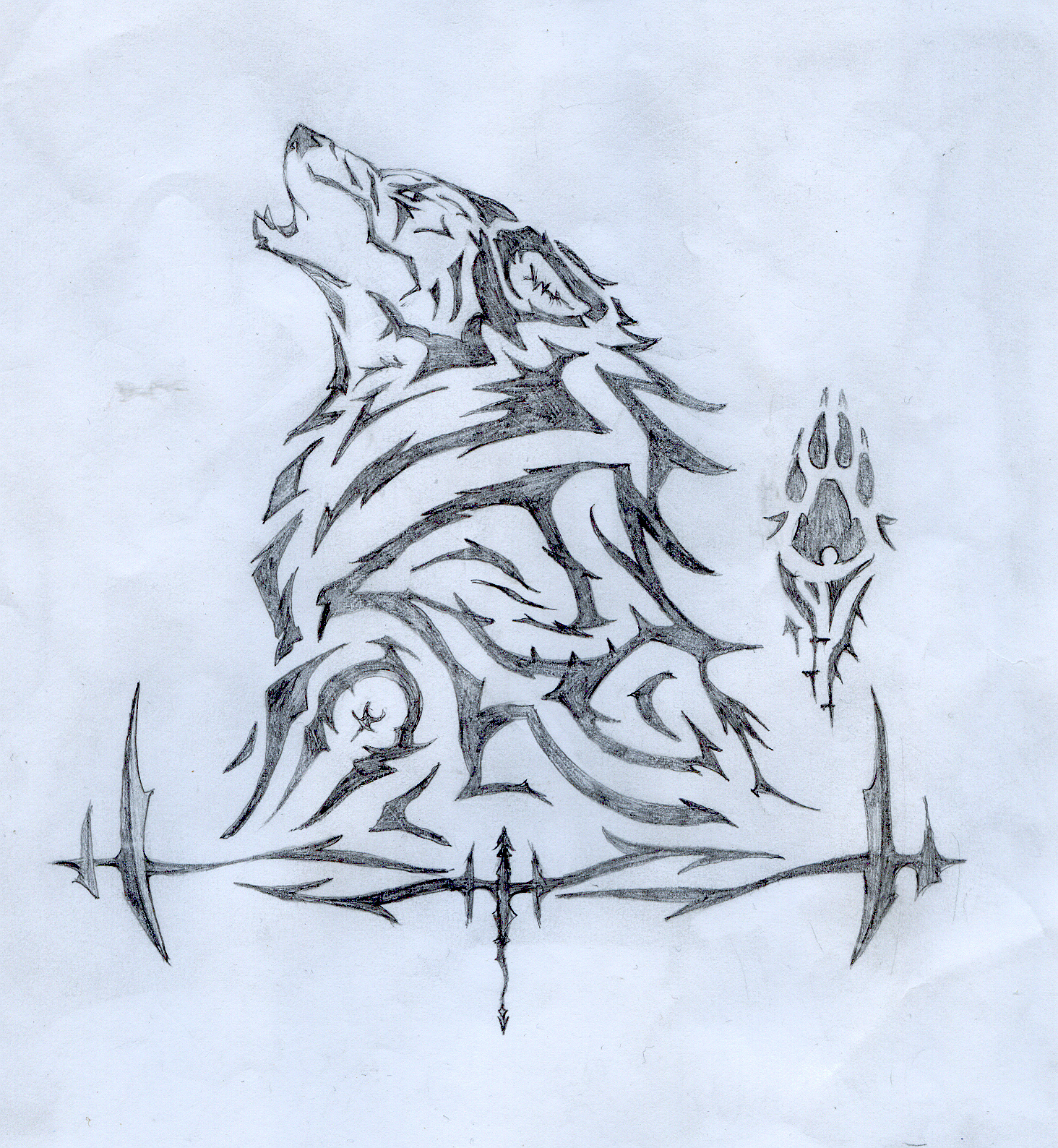 1464x1588 Drawn Howling Wolf Traditional