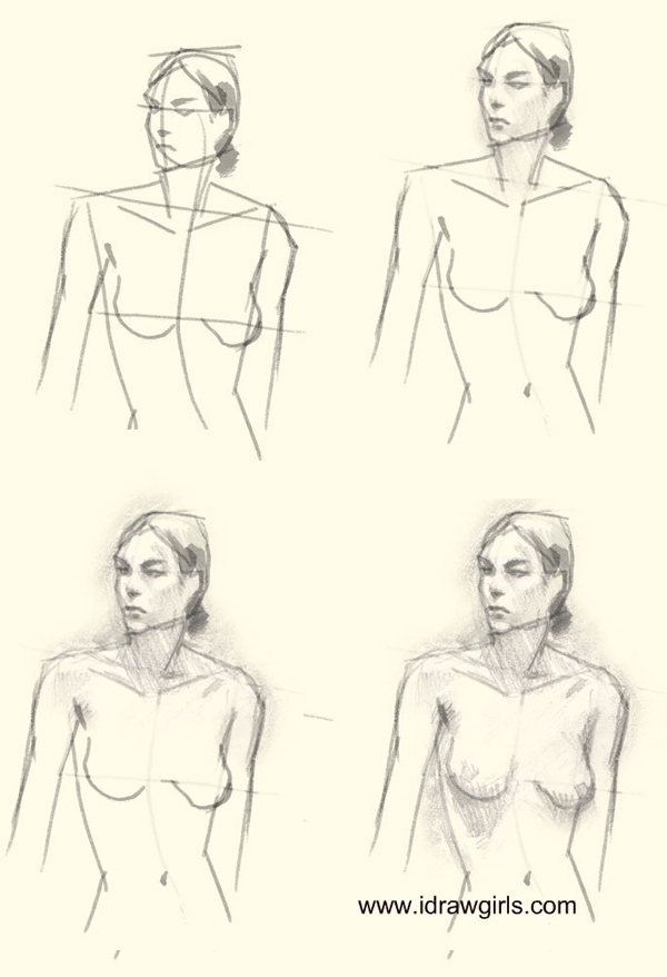 600x878 How To Draw Woman Upper Body