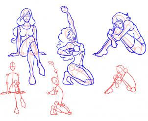 302x248 How To Draw Female Figures, Female Figures Step 6 Drawing
