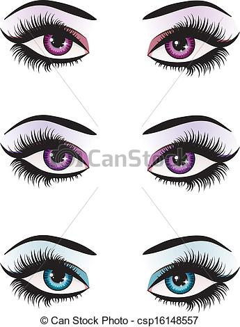345x470 Fantasy Eyes Makeup. Illustration Of Woman Eyes With Makeup