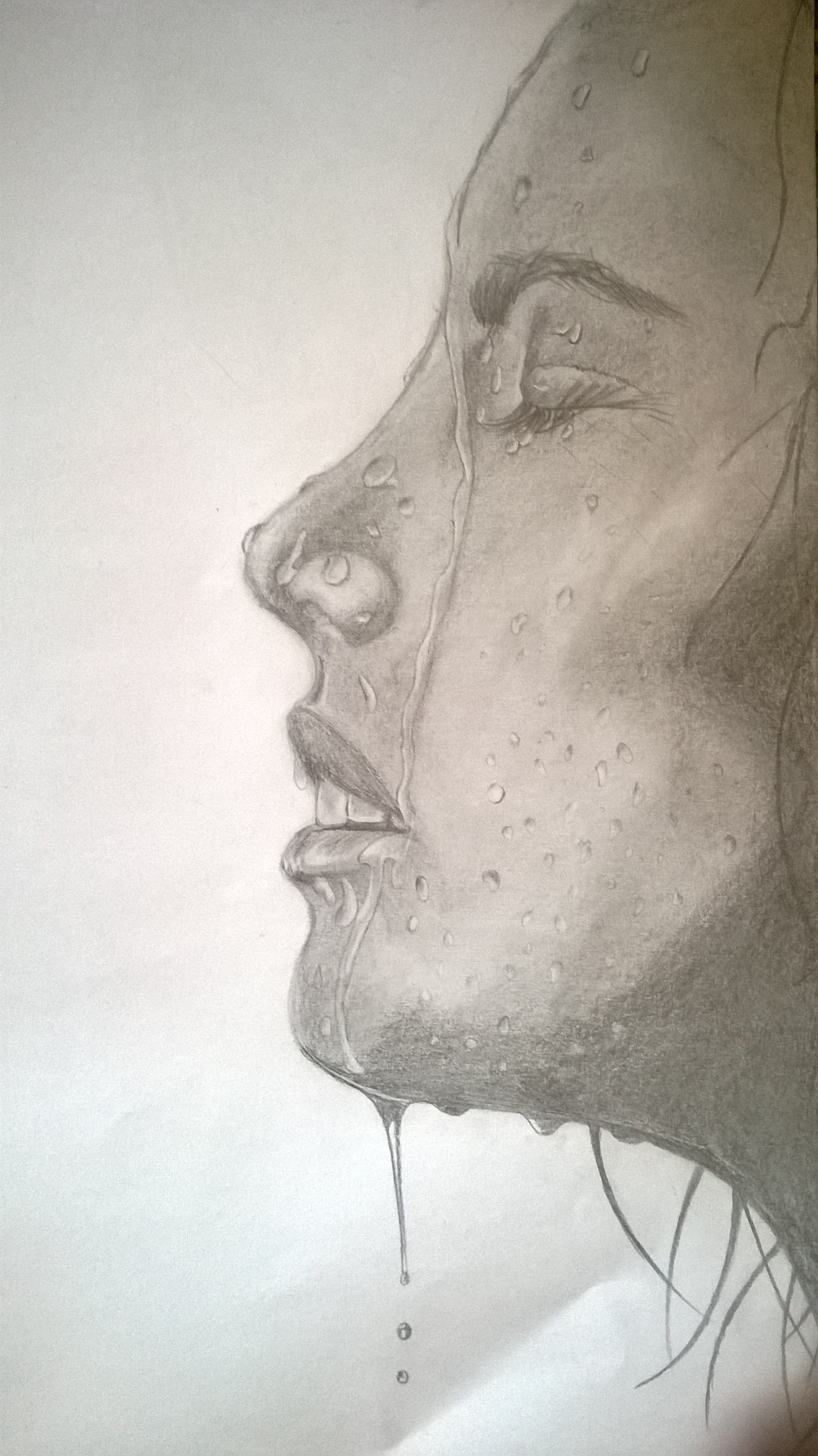 1456x2592 Water On Woman's Face Drawing Artmoses