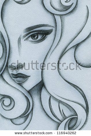 316x470 Stock Photo Woman Face. Hand Painted Fashion Illustration