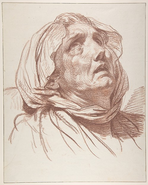 498x625 Jean Baptiste Greuze Head Of An Old Woman Looking Up The Met