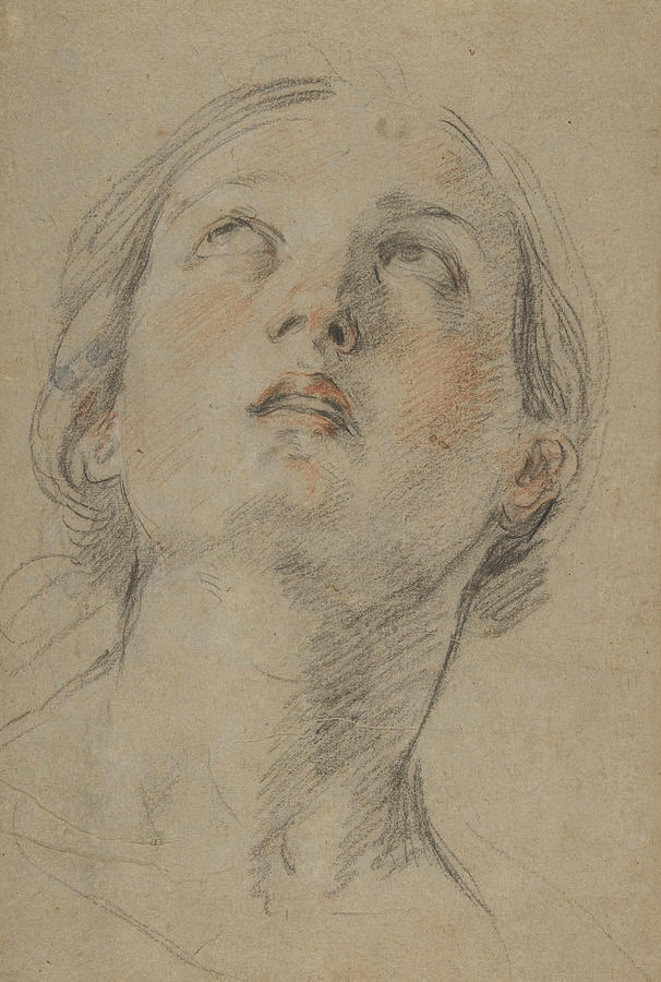 606x900 The Head Of A Woman Looking Up Drawing By Guido Reni