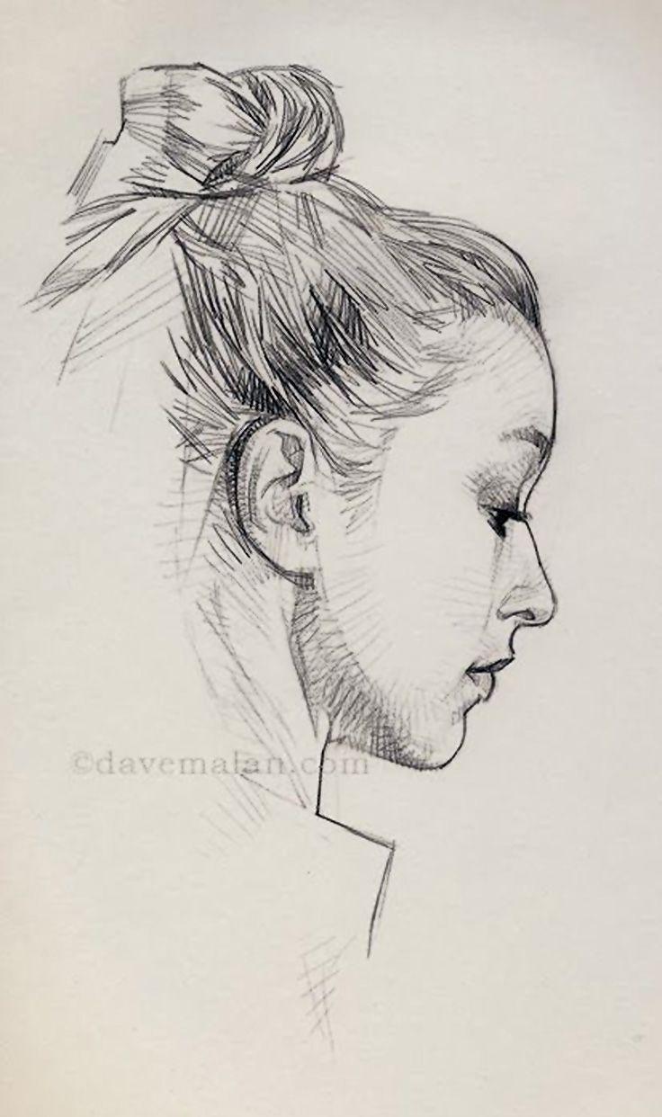 736x1242 David Malan, Pencil {Contemporary Figurative Beautiful Female Head