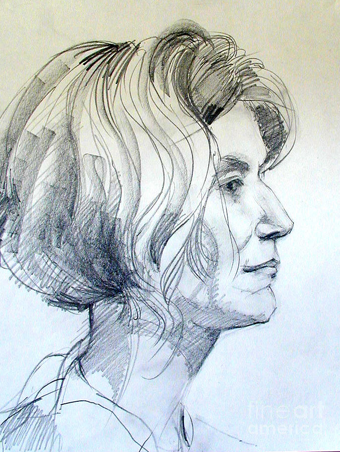 678x900 Portrait Drawing Of A Woman In Profile Drawing By Greta Corens