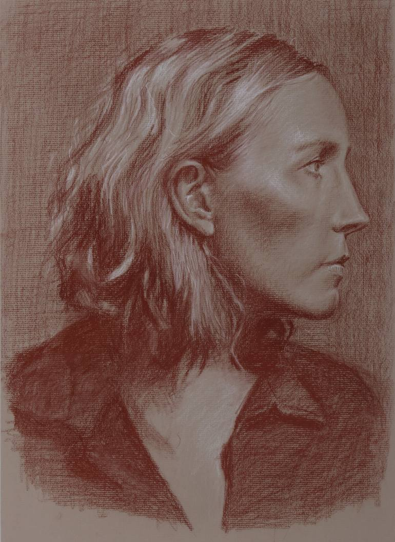 770x1055 Saatchi Art Portrait Of A Woman In Profile Drawing By Caouette