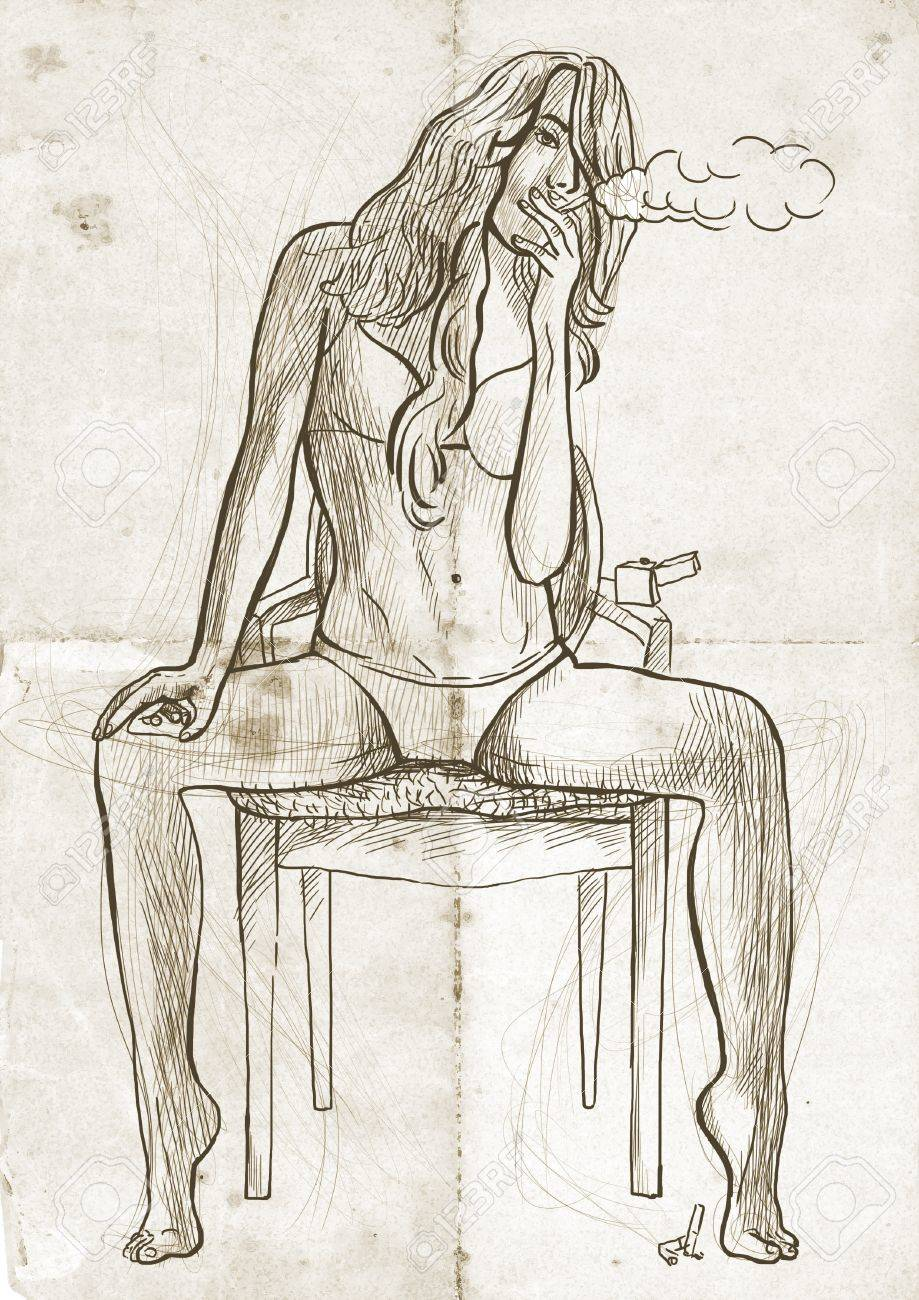 919x1300 An Hand Drawn Illustration Of Young Woman Sitting On A Chair