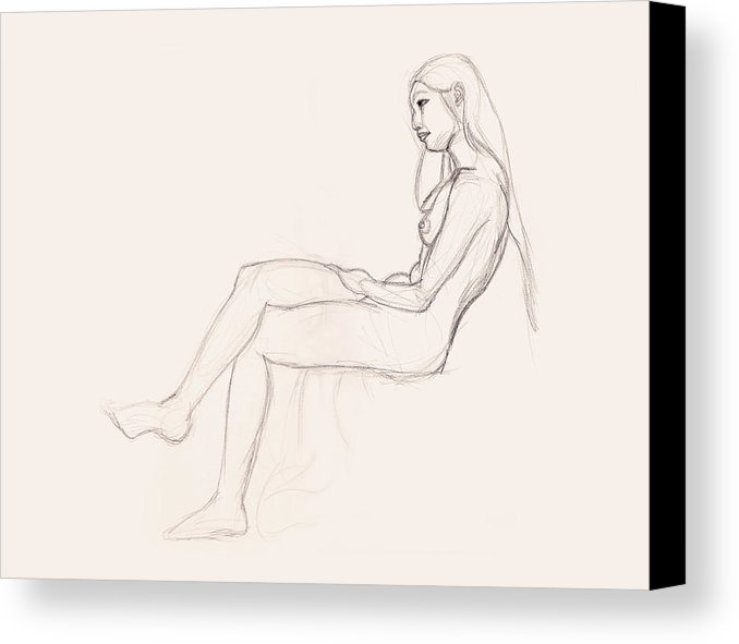 678x591 Charcoal Pencil Drawing Of Nude Woman, Sitting With Legs Crossed